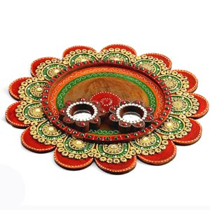 Painted Clay Work Wooden Pooja Thaali