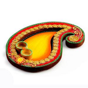 Yellow and Red Keri Design Wood Clay Pooja Thaali