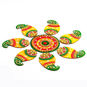 Handmade Wood and Clay Floral Floor Art (Rangoli)