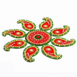 Red and Green Handmade Wood Clay Floral Floor Art (Rangoli)