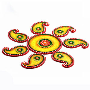 Yellow, Green and Red Wood Clay Keri Floor Art (Rangoli)