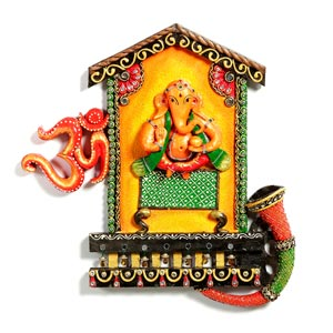 Lord Ganesha and Om Wall Hanging in Wood and Clay