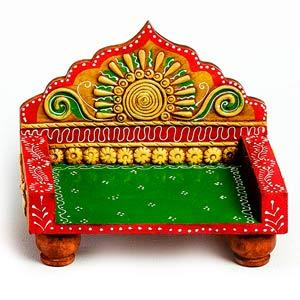 Hand Painted Mini Chowki Throne Made in Wood & Clay