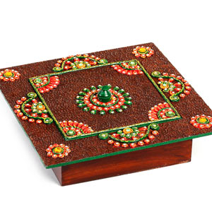 Storage Box Crafted in Wood and Clay Work with Lid
