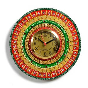 Round Wooden Clock with Clay Accents in Brass Dial