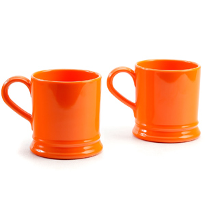 Outrageous Orange Melamine Coffee & Tea Mug Set