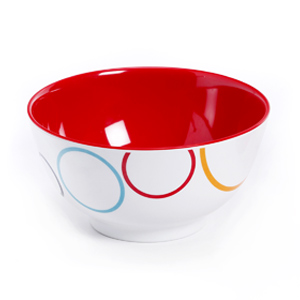 Red & White Circle Printed Melamine Bowl