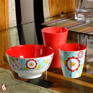 Watercolor Floral Printed Twin Tumbler Set with Bowl