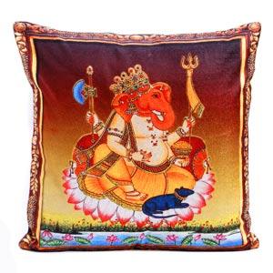 Sankatahara Ganesha Motif Printed Velvet Cushion Cover