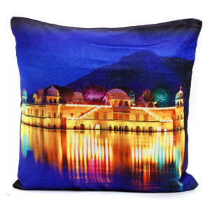Jal Mahal Palace of Jaipur Velvet Cushion Cover