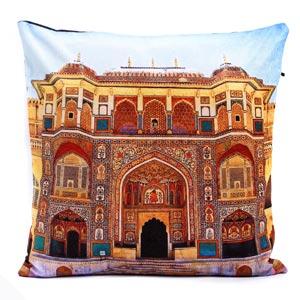 Suraj Pole Gate Amber Jaipur Velvet Cushion Cover