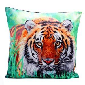 Ranthambore Tiger Velvet Cushion Cover