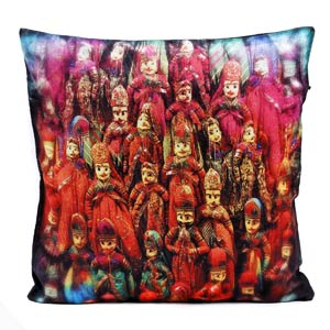 Rajasthani String Puppet Velvet Cushion Cover