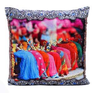 Gangaur Festival Printed Velvet Cushion Cover