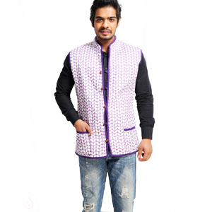 Jackets-Blue Wave Block Print Quilted Cotton Jaipuri Jacket