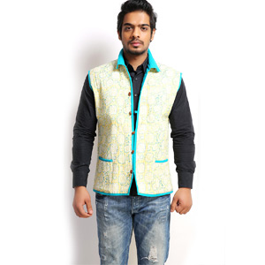 Jaipuri Cotton Quilted Block Print Reversible Jacket