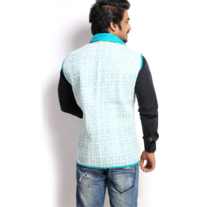 Jackets-Pure Cotton Quilted Block Print Jaipuri Jacket