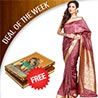 Gift Mauve Pink Brasso Silk Saree with Gold Thread Border on Mothers Day
