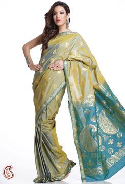 Double Shaded Yellow Green & Blue Art Silk Saree
