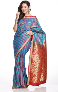 Red and Blue Stripes Art Silk Saree with Rich Pallu