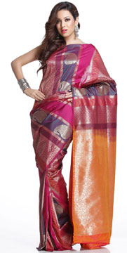 Multicolored Designer Art Silk Saree