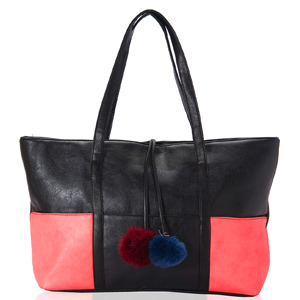 Black & Pink Faux Leather Tote Bag