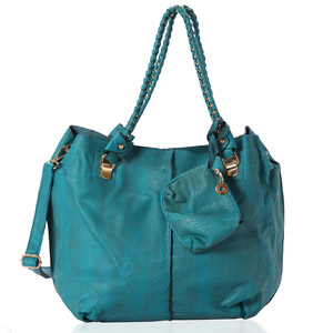 Teal Blue Faux Leather Hobo Bag with Braided Handle