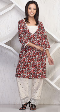 Floral Print 3 4th Sleeve Kurta Palazzo Set India