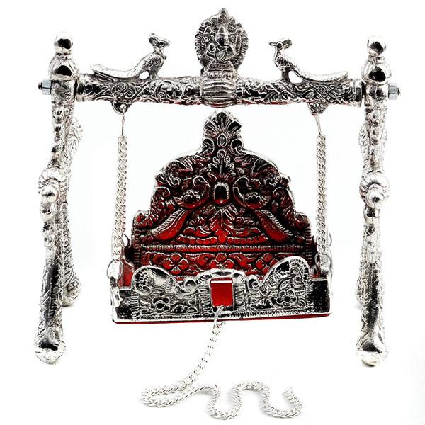 Miniature White Metal Ornate Shree Laxmi Jhula