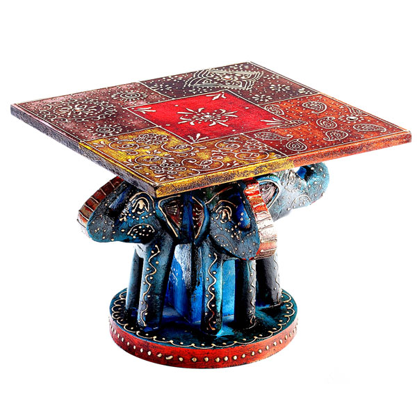Hand Painted White Wood Side Table with Elephants