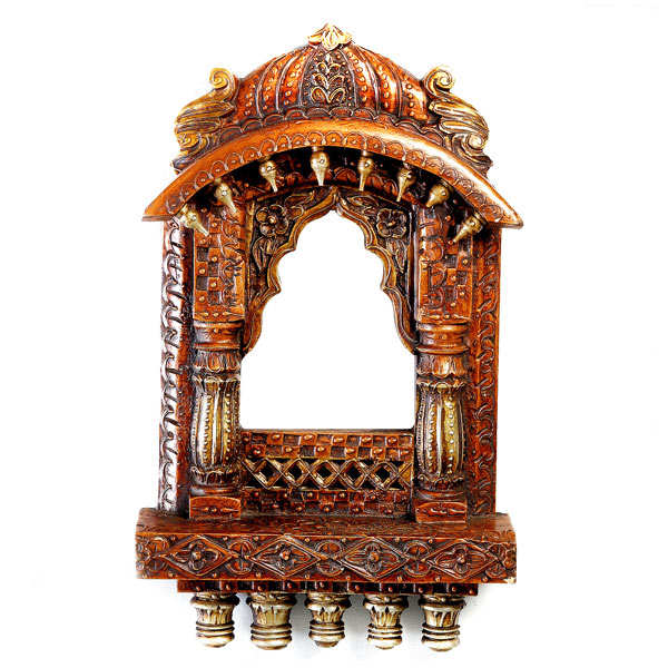Rustic Wooden Window Jharoka with Carved Accents