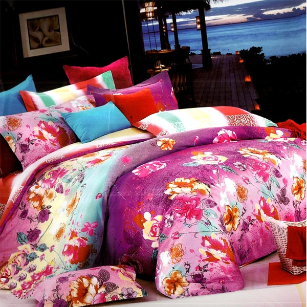 Bold Floral Print Cotton Double Bedsheet Set