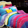 Rainbow Colors Cotton Double Bedsheet Set