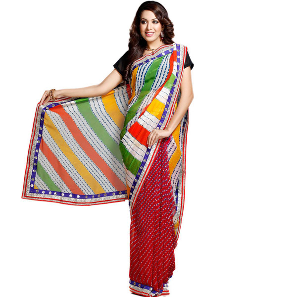 Multicolor Hand Tied Lehariya Saree