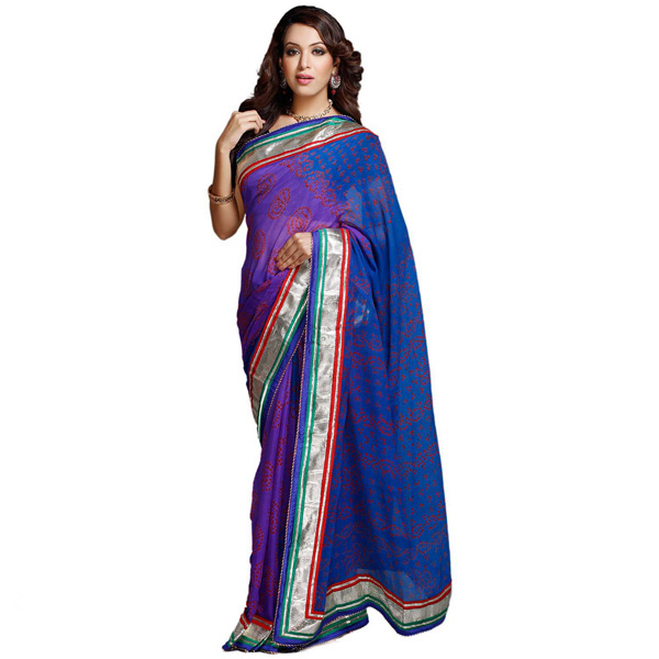 Deep Blue Shaded Chiffon Saree