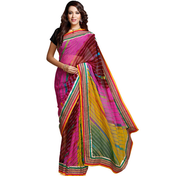 Multicolor Chiffon Saree with Hand Tied Lehariya Work