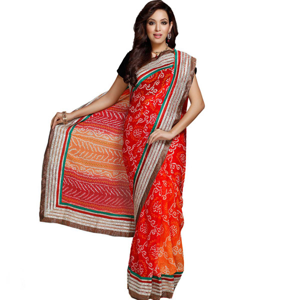 Shaded Orange Intricate Bandhni Work Chiffon Saree