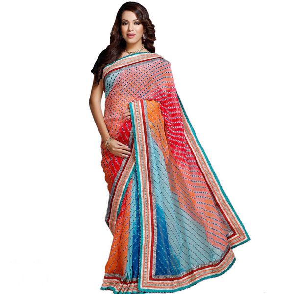 Traditional Lehariya & Mothda Work Shaded Chiffon Saree