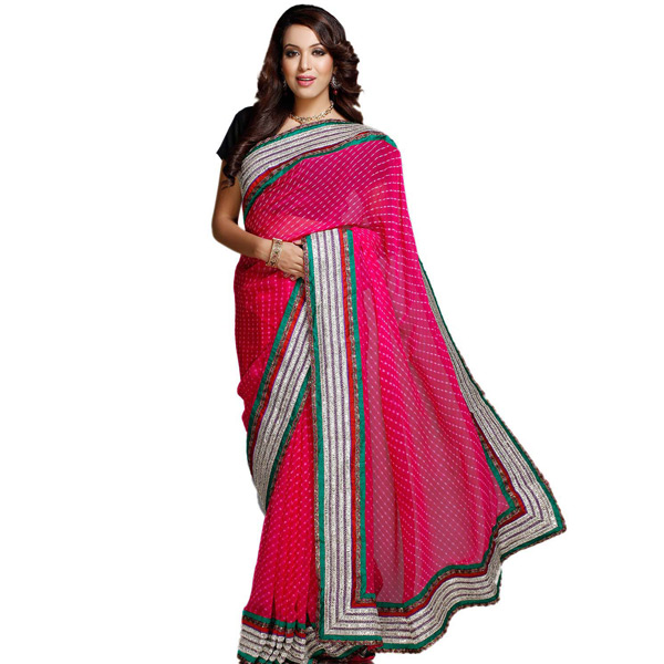 Traditional Hand Tied Mothda Chiffon Saree