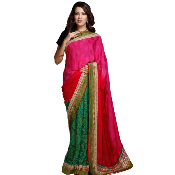 Pink and Green Block printed Jacquard Saree