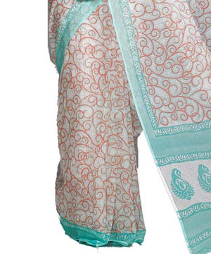 Cotton Sarees-Off White Green Block Printed Kota Doria Saree
