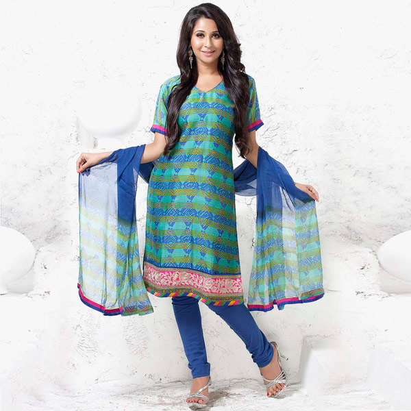 Blue & Green Block print Chanderi Silk Suit