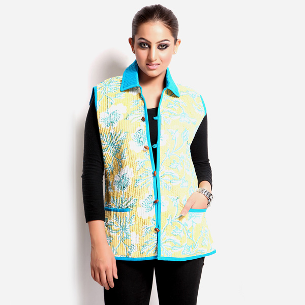 Floral Printed Jaipuri Quilted Jacket for Women