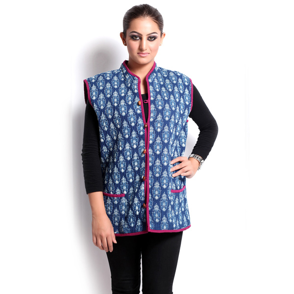 Block Print Jaipuri Quilted Reversible Jacket for Women