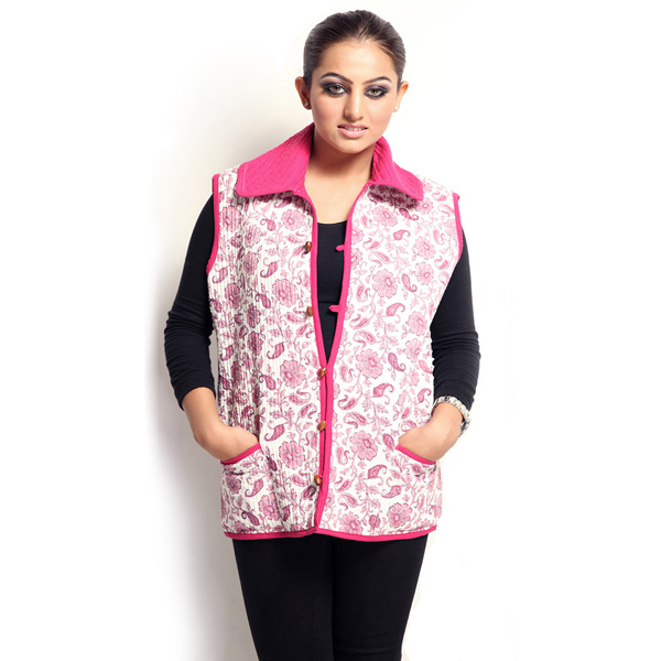 Soft Cotton filled Printed Quilted Jaipuri Jacket for Women