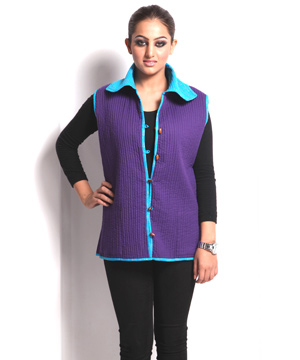 Sleeveless Blue Puffer Jaipuri Cotton Jacket For Women India