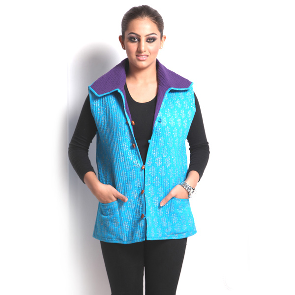 Sleeveless Blue Puffer Jaipuri Cotton Jacket for Women