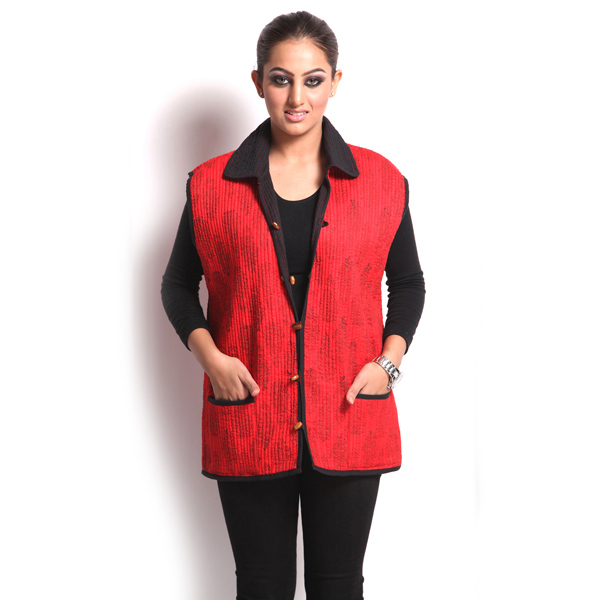 Red Cotton Quilted Jaipuri Jacket for Women