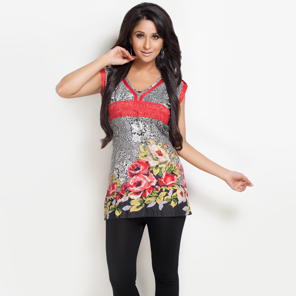 Bold Floral and Paisley Print Cotton Tunic for Women