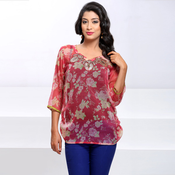 Embroidery Work Floral Printed Chiffon Tunic for Women